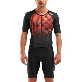 2XU Perform Combinaison à manches courtes zippée Homme, black/flame ombre
